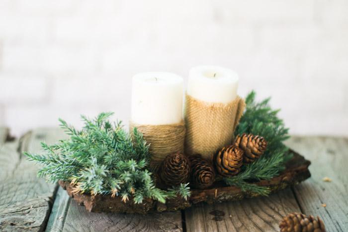Centro de navidad con velas perfect hacer vela dorada - Centro de navidad con velas ...
