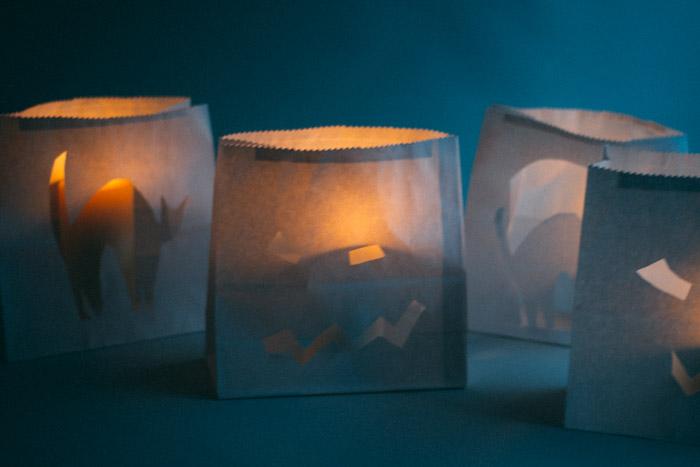 Paper bag luminaries DIY Halloween