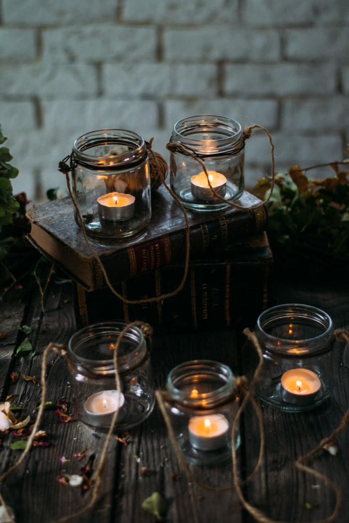 Farolillos con botes de cristal diy la chimenea de las hadas - Farolillos para velas ...