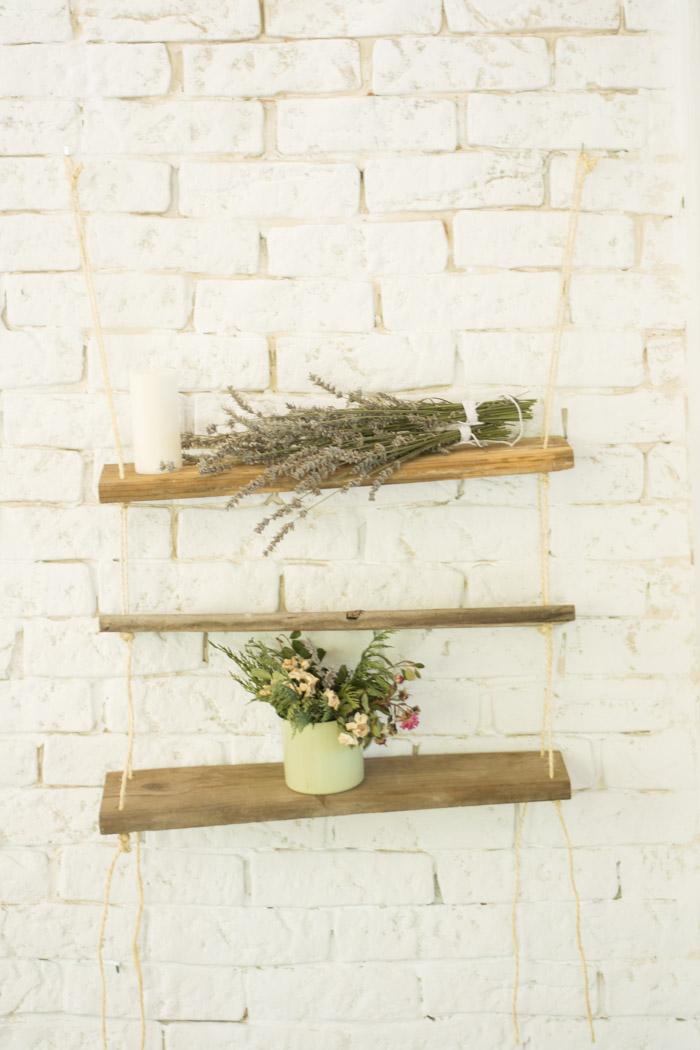Estantería DIY madera y cuerda