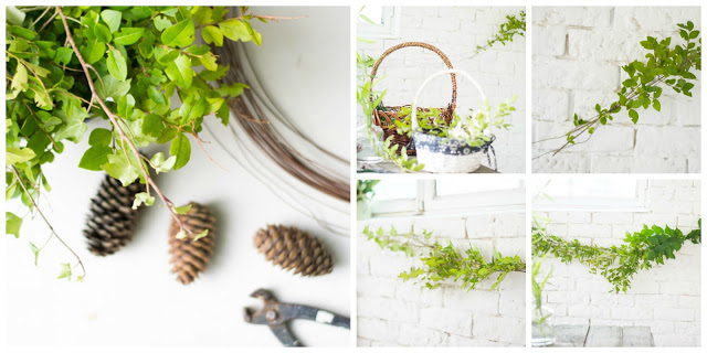 Cómo hacer una guirnalda de ramas y flores diy