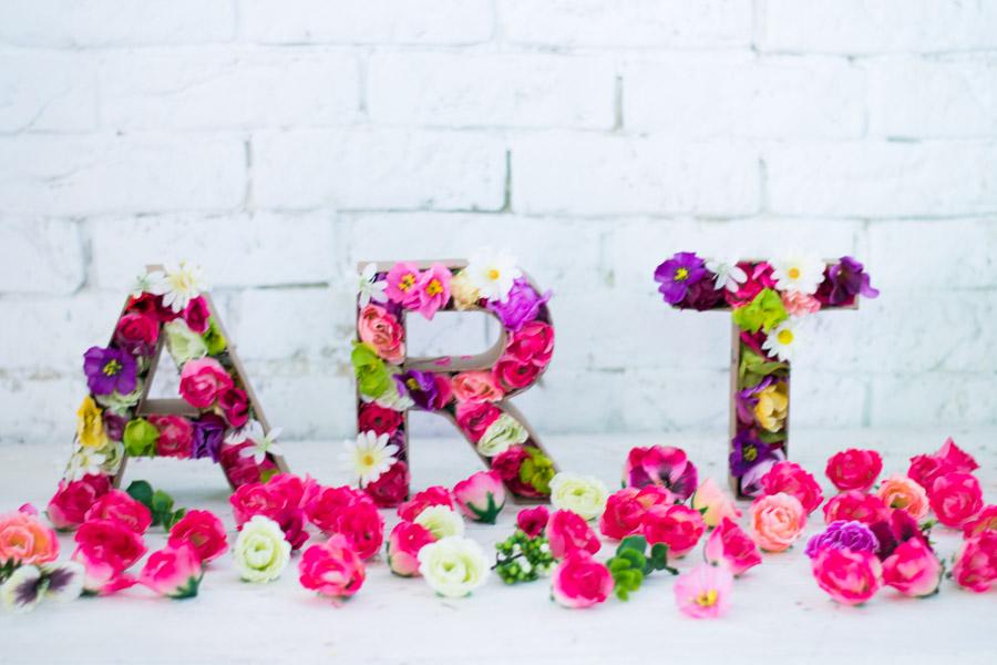 Letras Con Flores Artificiales Diy La Chimenea De Las Hadas