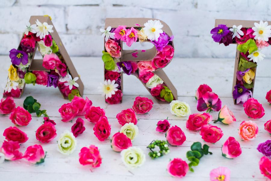 Letras Con Flores Artificiales Diy La Chimenea De Las Hadas - Manualidades-con-flores-artificiales